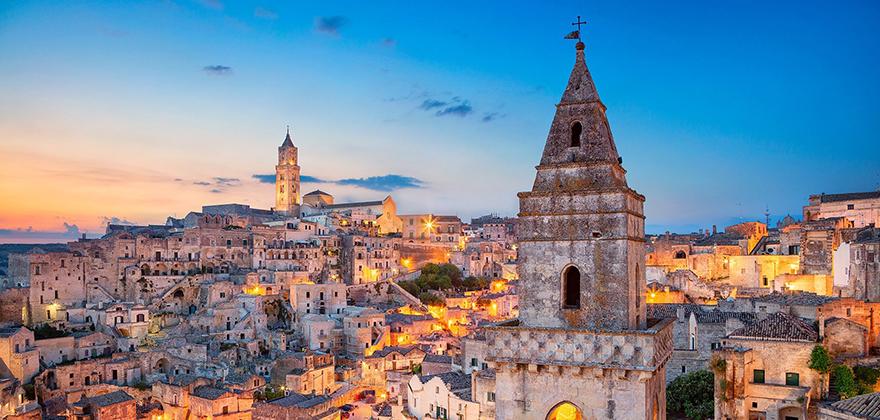Italy Matera Basilicata city lights dusk 1920x1200