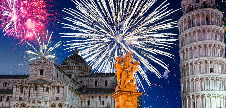 New Years firework display in Pisa Italy