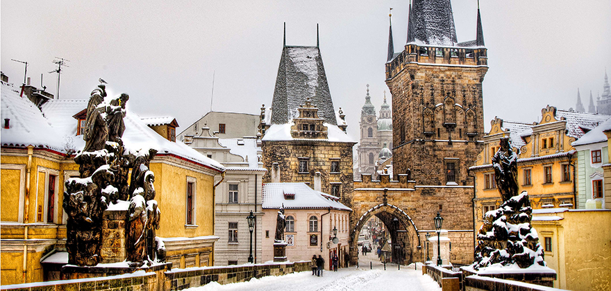 st charles bridge in snow